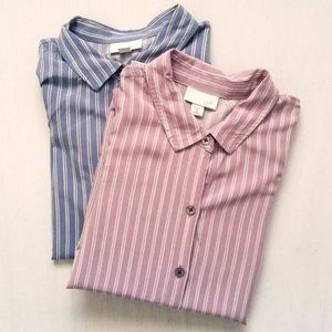2-Pack J. Jill 100% Rayon Striped Button Up Shirt